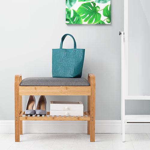 玄関椅子 手すり 収納 棚 クッション スツール 玄関ベンチ 竹製 グレー isu-oukoku 15
