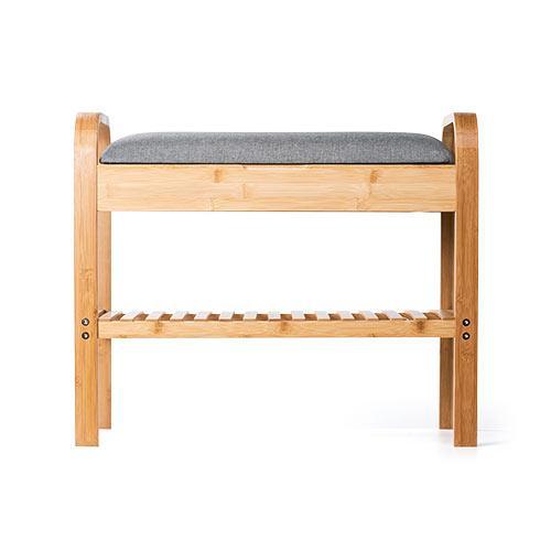 玄関椅子 手すり 収納 棚 クッション スツール 玄関ベンチ 竹製 グレー isu-oukoku 16