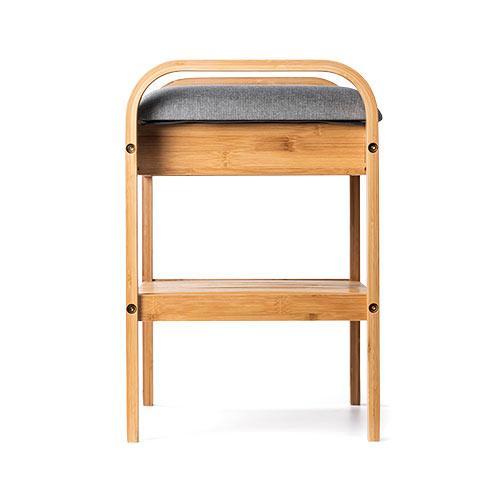 玄関椅子 手すり 収納 棚 クッション スツール 玄関ベンチ 竹製 グレー isu-oukoku 17