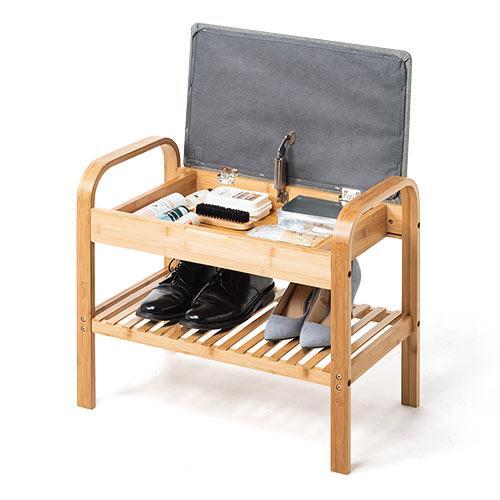 玄関椅子 手すり 収納 棚 クッション スツール 玄関ベンチ 竹製 グレー isu-oukoku 18
