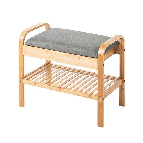 玄関椅子 手すり 収納 棚 クッション スツール 玄関ベンチ 竹製 グレー isu-oukoku 21