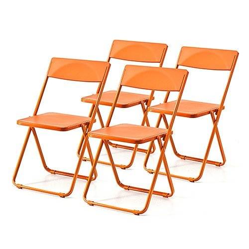 折りたたみ椅子 おしゃれ フォールディングチェア スタッキング可能 SLIM 4脚セット オレンジ オレンジ