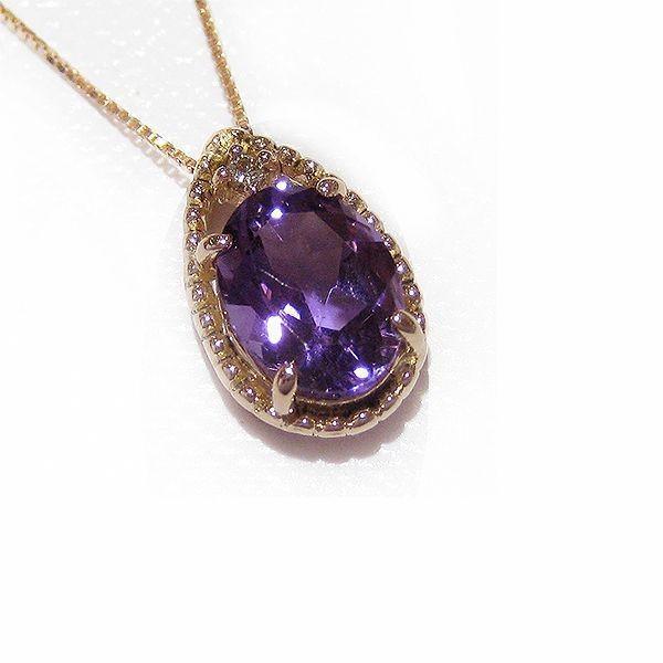 柔らかい ネックレス K10(10金)PG ピンクゴールド アメジスト アメシスト(2月誕生石)ダイヤモンド ペンダント md411013 レディース ジュエリー 天然石 (t805-1), シメマチ b447bdf0