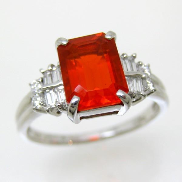 最高の リング ファイヤーオパール PT プラチナ r243 大石 レディース 指輪 色石 ファイア ダイヤモンド (t612) 1点もの, みかん梅干し紀伊国屋文左衛門本舗 5ae86197