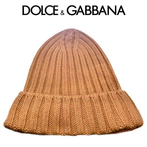 ドルガバ ニット帽 ドルチェ&ガッバーナ 帽子 viscose D&G キャメル ライトブラウン gih30k f3oub m3936 (t712-1) 増税前セール