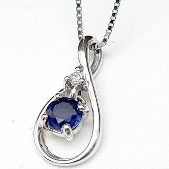最高の品質の ネックレス K10WG 10金ホワイトゴールド ペンダント サファイア ダイヤモンド, チクサク e03a43a7