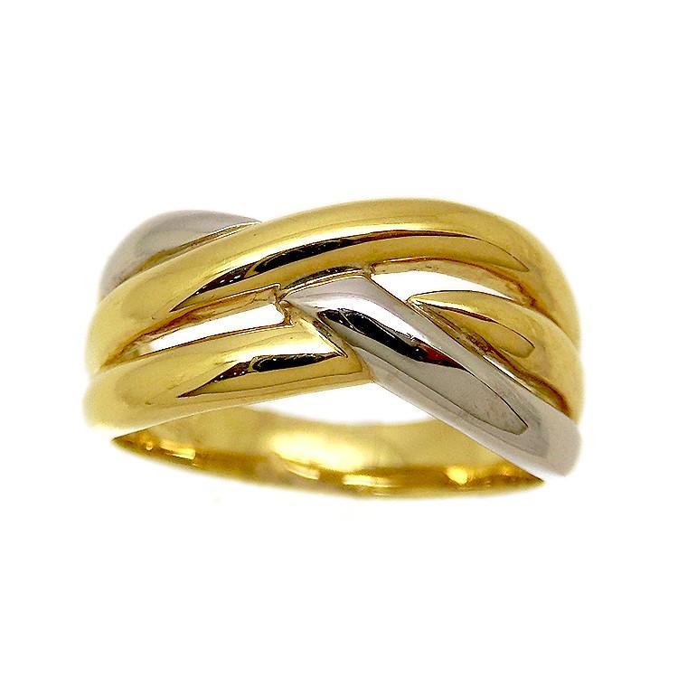 欲しいの 指輪 地金 3連 リング PT900 K18 プラチナ 18金 ゴールド コンビ レディース ジガネ重ね付け 新品 ジュエリー s1324830 (t2002-1), ATI.Shop 1cc01909