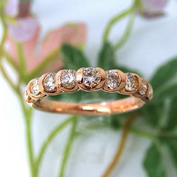 高い品質 指輪 K18PG ダイヤモンド 0.5ct ファッションリング レディース パワーストーン ジュエリー 天然石 mr1057441 宝石 (t806)ハーフエタニティリング 9石(ND), eBaby-Select fcf63676