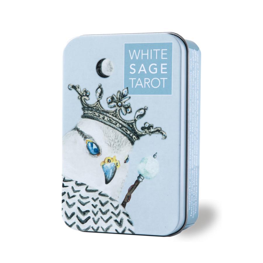 タロットカード 78枚 ウェイト版 ホワイトセージ タロット 高い素材 WHITE 人気ブランド多数対象 日本語解説書付き 缶入り TAROT SAGE