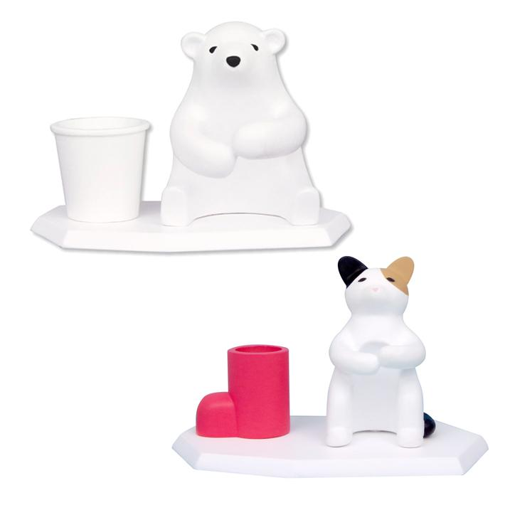 歯ブラシ スタンド 可愛い 誕生日 プレゼント ハシートップイン Hashy HB-3018 HB-3019 洗面台 ギフト シロクマ ネコ