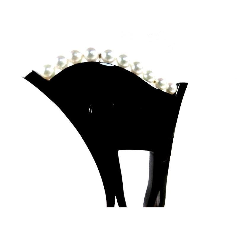 【創業144年べっ甲の菊池】本べっ甲かんざしあこや真珠付(10玉)ー311 【結婚式·留袖·訪問着】