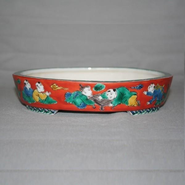 九谷焼 手描き 植木鉢 唐子文様6号楕円鉢