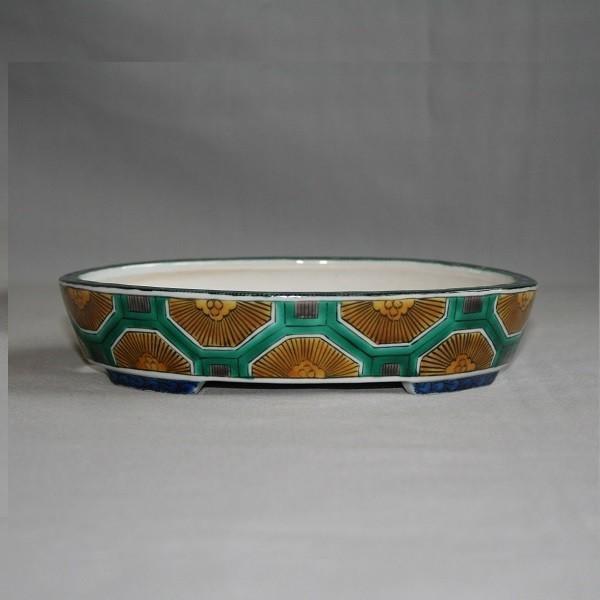 九谷焼 手描き 植木鉢 亀甲文様6号楕円鉢