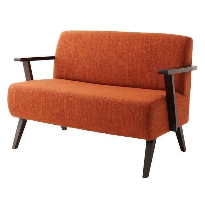 北欧スタイルデザインソファ 北欧スタイルデザインソファ Kiitos キートス 2P 040105027-OR/BR オレンジ/ブラウン
