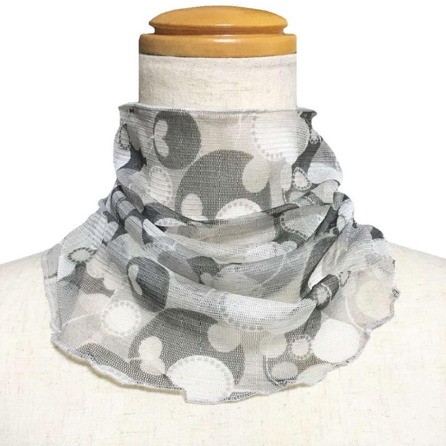 気管切開 デポー 喉頭摘出 永久気管孔 シルクネックカバー 受注生産品 かぶるタイプ:ドットグレー