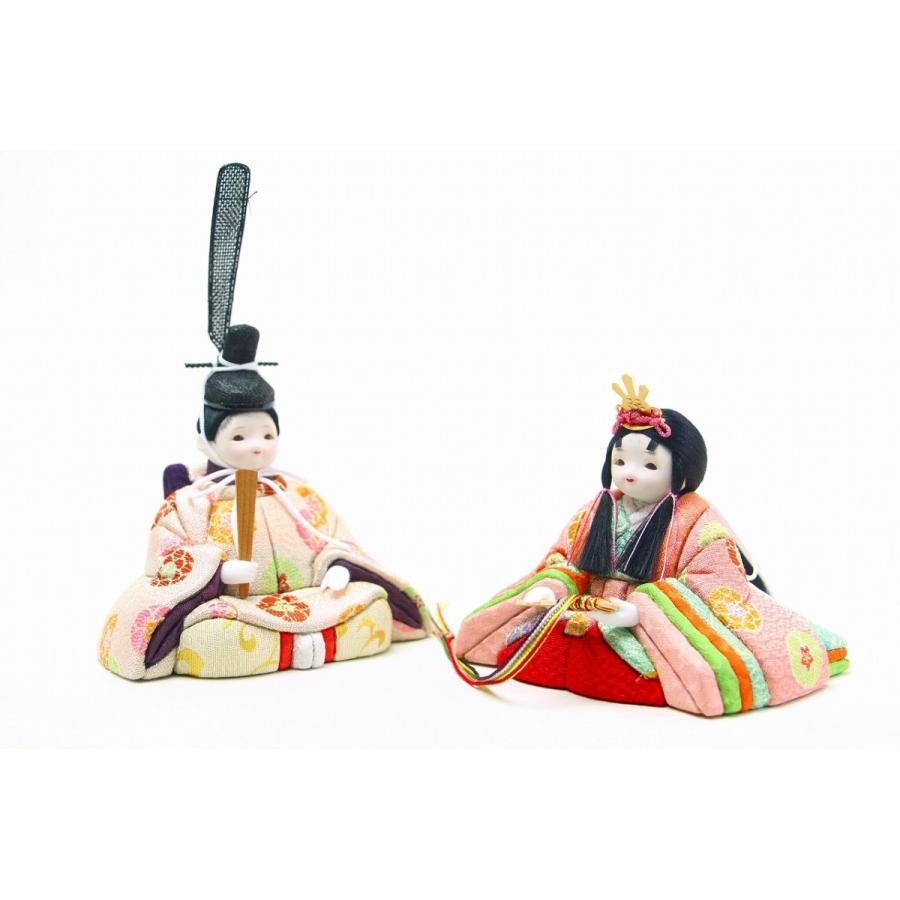 かわいい 小さな お雛様 rico霞(かすみ) 木目込み五人飾り 雪輪模様屏風 官女付き