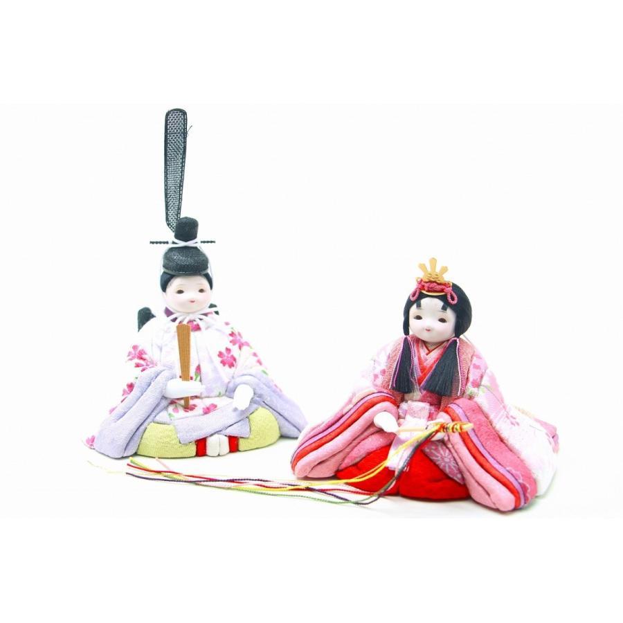 かわいい 小さな お雛様 rico舞(まい) 木目込み親王飾り 4曲金屏風 ケース付き