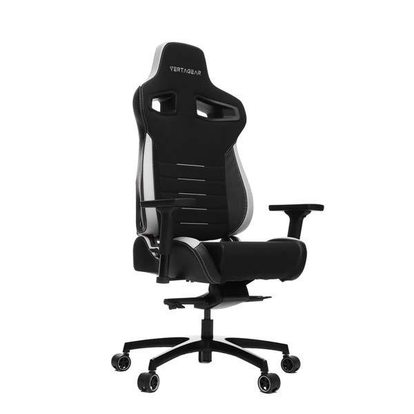 VertaGear Racing Series P-Line PL4500 Coffee Fiber with Silver Gaming Chair Black&White ワイドサイズのゲーミングチェア ブラック&ホワイト|VG-PL4500_|itempost