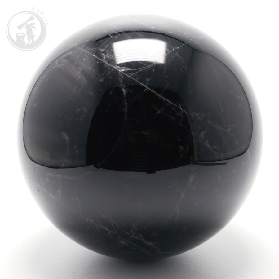 天然 黒水晶 モリオン 丸玉 約101mm 最強魔除け石 風水 お守り