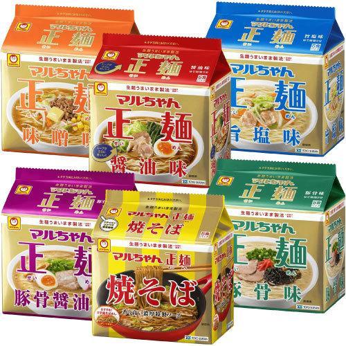 アソート 日本正規代理店品 30食 マルちゃん正麺 袋麺 5食パック マーケット 6種類 各1パック入 豚骨味 豚骨醤油味 旨塩味 味噌味 醤油味 計1箱 焼そば