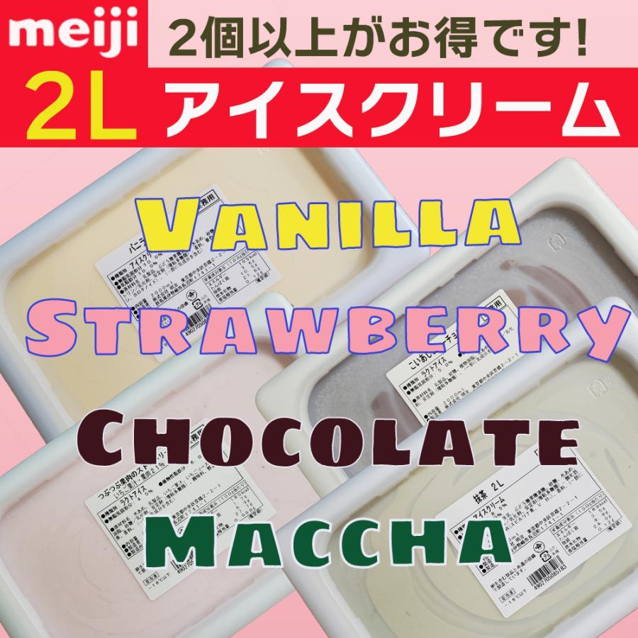 明治 アイスクリーム バニラ チョコ 抹茶 ストロベリー 業務用 再販ご予約限定送料無料 1個から3個 4種類 2L 永遠の定番モデル つぶつぶ果肉 選べる