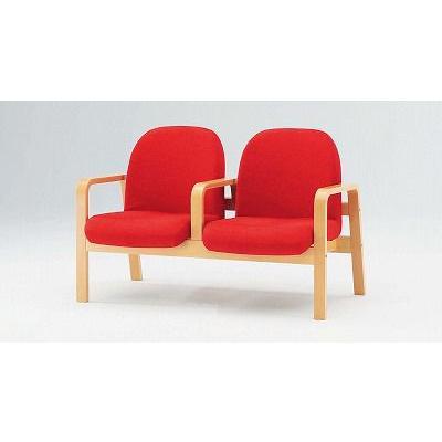 TOKIO【藤沢工業】 木製ロビーチェア(待合室用長椅子)各席肘付・布張りタイプ 2人用 LW-2A W1190xD680xH730mm