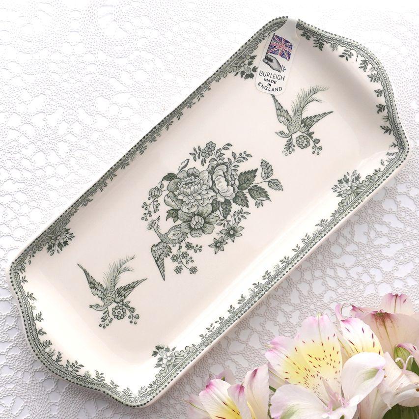 バーレイ グリーン アジアティックフェザンツ サンドイッチトレイ BURLEIGH 花柄 ギフト 英国 トレー 評価 陶器 イギリス製 食器 緑