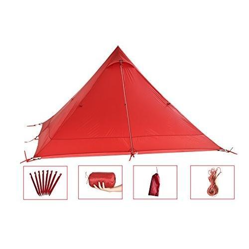 Desert Walker テントキャンプテント軽量0.7KG 3色は、バッグ(赤)との強力な1極10トン超の涙耐性15Dナイロン両面シリコ