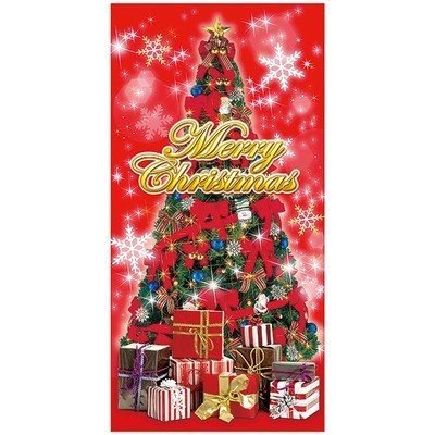 クリスマスツリータペストリー(防炎加工) クリスマスデコレーション タペストリー テトロンポンジ H180×W90cm