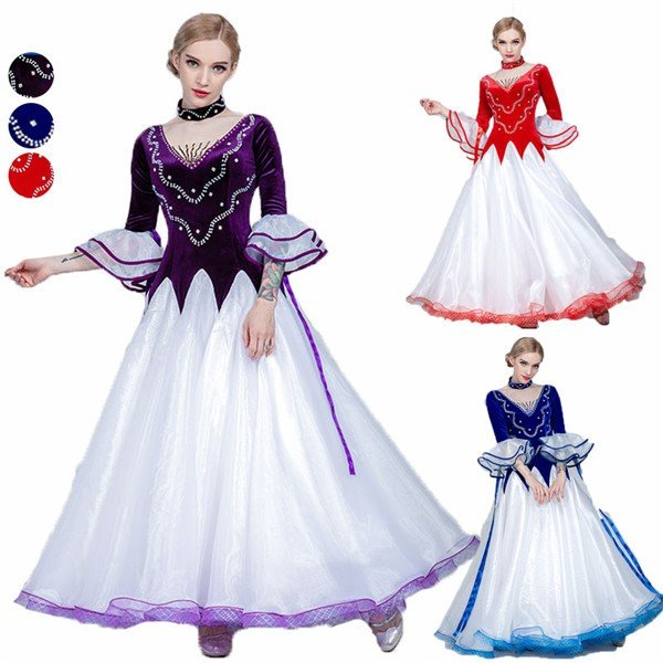 3カラー サイズ指定可 新作 社交ダンス モダンドレス 社交ダンス衣装 大きいサイズ 大きい裾 社交ダンス ドレス スタンダードドレス ワルツダンス