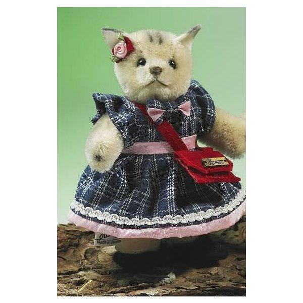 テディベア ぬいぐるみ ミニチュア 立ち 猫 ガール 緑ハーマン社テディベア