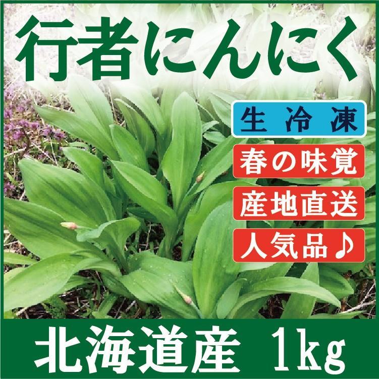 行者ニンニク 葉・北海道産1kg(250g×4袋) 醤油漬けや餃子に最高 生冷凍 ギョウジャニンニク|iwafo