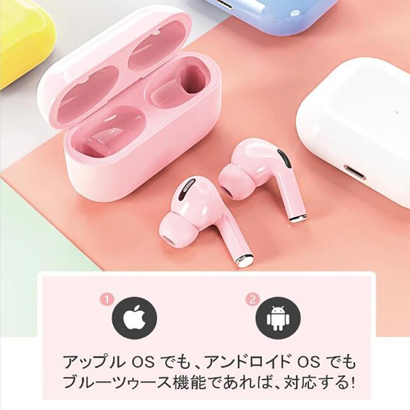 翌日発送 2021年新型 ワイヤレスイヤホン Bluetooth5.0 マカロン6色  日本語説明書付き 可愛い  簡単接続  両耳対応 高音質 タッチ操作|iwahira-shoten|03
