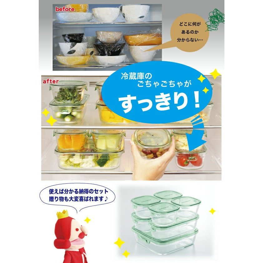iwaki 保存容器 7点セット グリーン 耐熱ガラス 作り置き 公式 レンジ レンジ オーブン レンジ調理 耐熱ガラス システムセット パック&レンジ|iwaki-kitchenshop-y|04