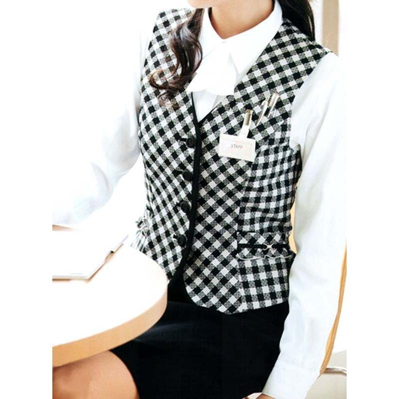 ベスト チェック ホワイト×ブラック ラベンダー×ホワイト 5-19号 制服 オフィス 事務 事務服 企業制服