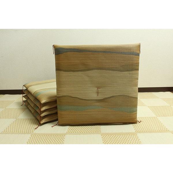純国産 捺染返し い草座布団 『利休 5枚組』 ブラウン 約55×55cm×5P