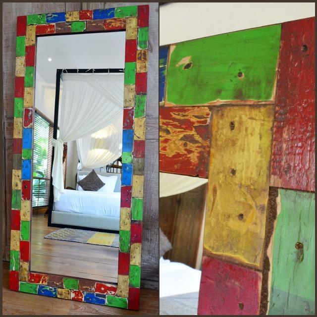 全身鏡 姿見 姿見 おしゃれ 壁掛け 鏡 スタンドミラー 大型 ウォールミラー アジアン雑貨 バリ雑貨 アンティーク ボートリメイク 150×70cm