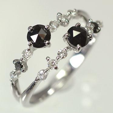 人気提案 【ダイヤモンドリング】K18WG・ダイヤ&ブラックダイヤ0.82ct スターダストリング(指輪), あるやん 39c28fdf