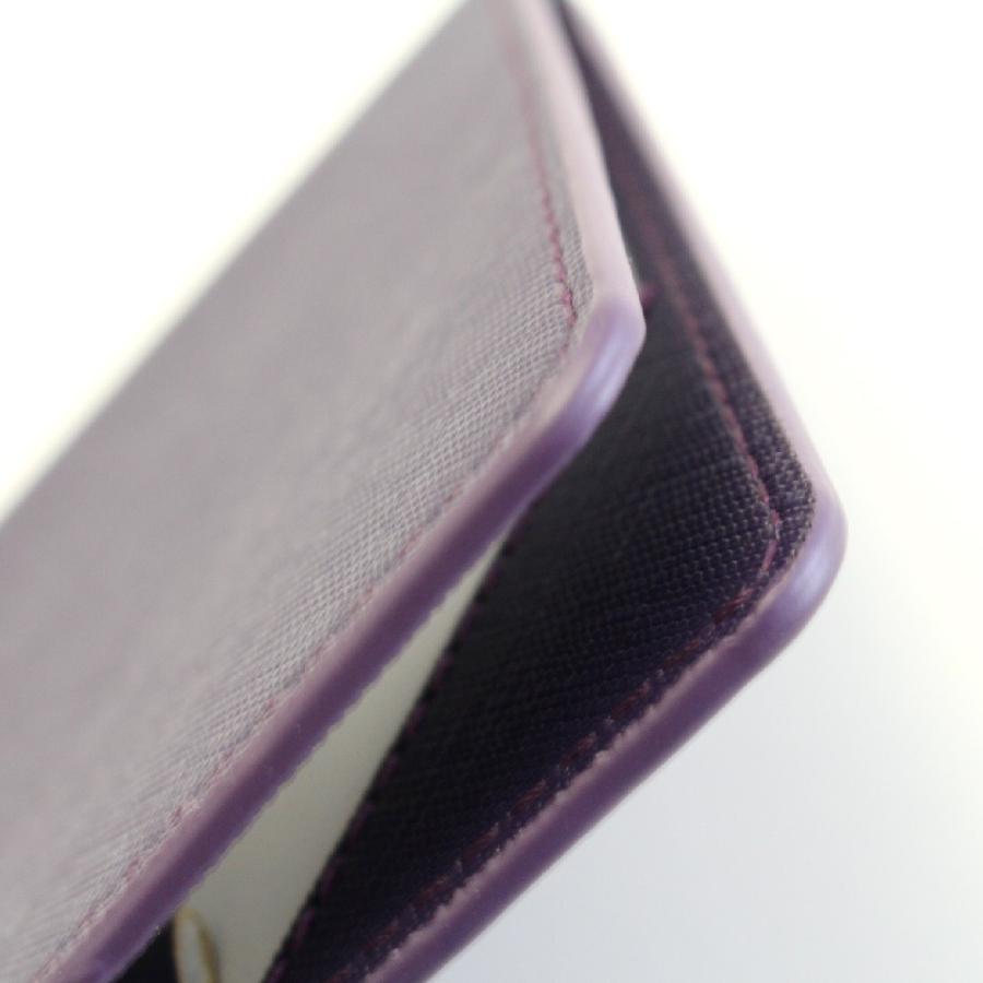 ゴルフ スコアカードホルダー サフィアーノPUレザー シンプル パープルネイビー Purple navy  内側:PUレザー|izumigolf|06
