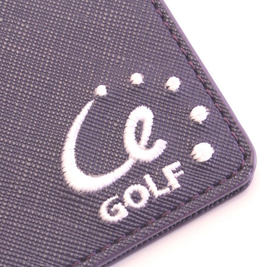 ゴルフ スコアカードホルダー サフィアーノPUレザー シンプル パープルネイビー Purple navy  内側:PUレザー|izumigolf|07