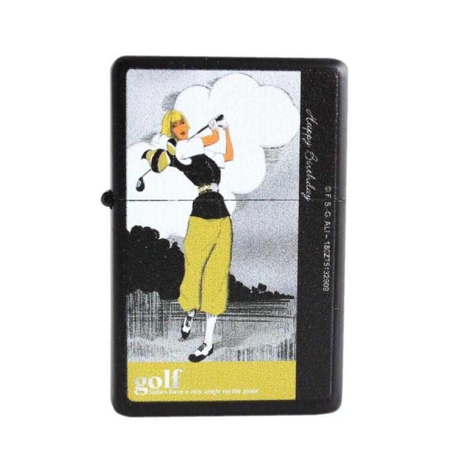 ライター オイルライター 喫煙具 ゴルフ柄 Golf lighter 全6種類 ギフト 艶消しマットブラック izumigolf 03
