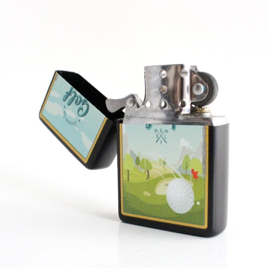 ライター オイルライター 喫煙具 ゴルフ柄 Golf lighter 全6種類 ギフト 艶消しマットブラック izumigolf 04