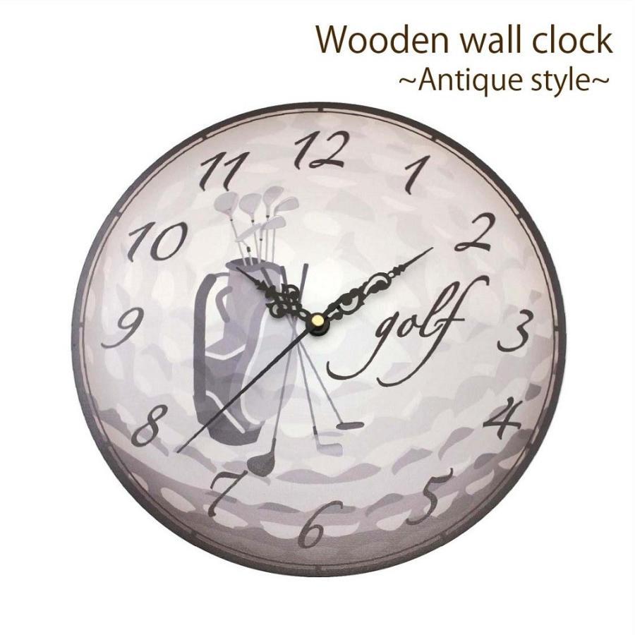 ゴルフ 掛け時計 ウォールクロック 木製 アンティーク風 ゴルフバッグ柄 直径30cm スイープムーブメント 静音 インテリア ゴルフモチーフ ギフト ゴルフコンペ izumigolf