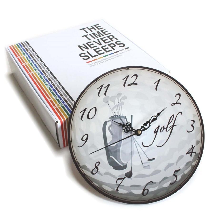 ゴルフ 掛け時計 ウォールクロック 木製 アンティーク風 ゴルフバッグ柄 直径30cm スイープムーブメント 静音 インテリア ゴルフモチーフ ギフト ゴルフコンペ izumigolf 02