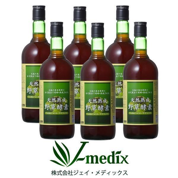 酵素ドリンク 無添加 高級 原液100% 6本セット 送料無料 天然熟成野草酵素 720mL 代謝 栄養サポート
