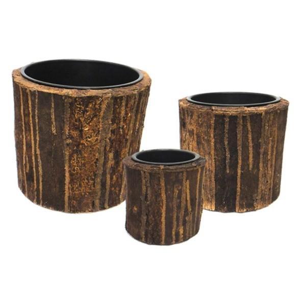 室内用植木鉢カバー 〔ブラウン ラウンド型〕 3サイズ×1組 インナーポット付 『タック』 〔園芸 ガーデニング用品〕