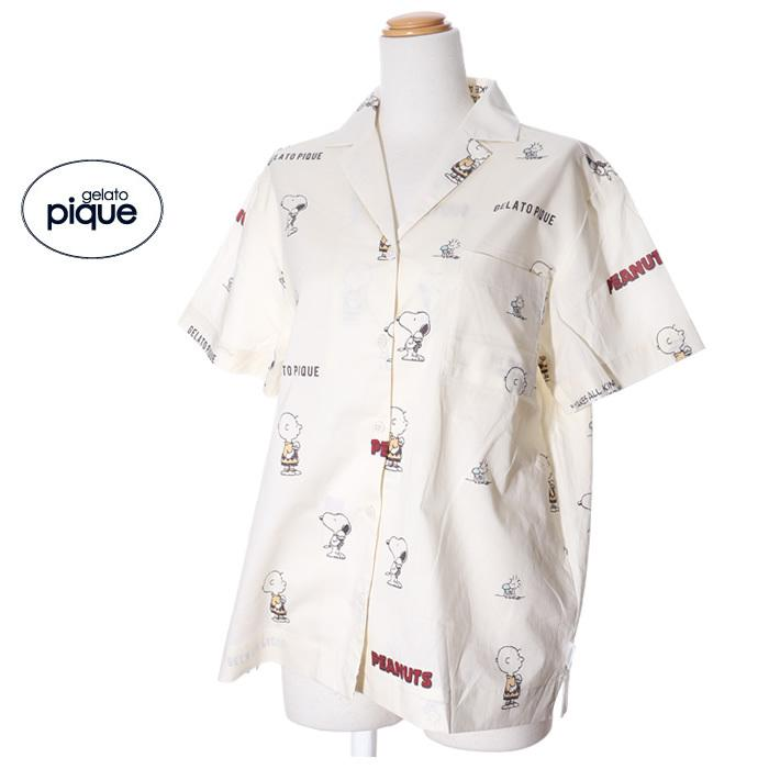 ジェラートピケ gelato pique スヌーピー ルームウェア シャツ レディース 半袖 春夏 前開き 綿 パジャマ /room jack-o-lantern