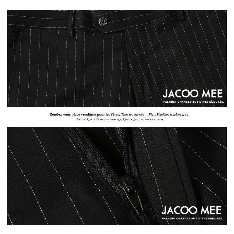 パンツ メンズ スラックス ストライプ ビジネスパンツ スリム 春夏 ビジネススラックス 紳士 ボトムス ズボン ノータック メンズパンツ 家庭洗濯可 送料無料 jacoomee 13