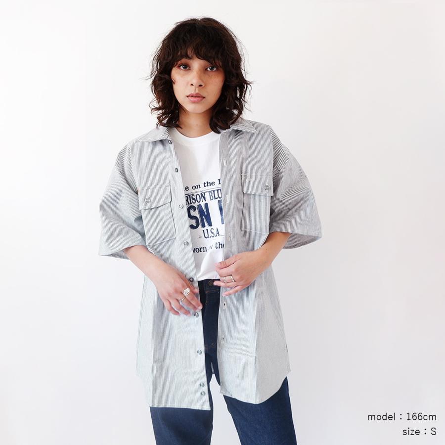 プリズンブルース PRISON BLUES 半袖 8オンス ヒッコリーストライプ ワークシャツ アメリカ製 米国製 HICKORY STRIPE WORK SHIRT jalana 02