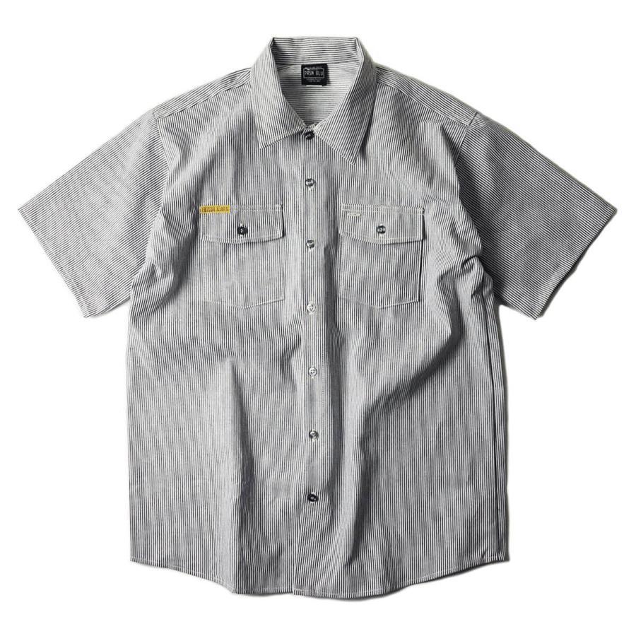 プリズンブルース PRISON BLUES 半袖 8オンス ヒッコリーストライプ ワークシャツ アメリカ製 米国製 HICKORY STRIPE WORK SHIRT jalana 04
